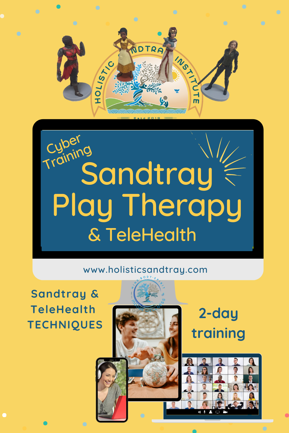 Cyber Training in Sandtray Play Therapy  & TeleHealth  TRAINING LIVE ZOOM plus IN-DEPTH COURSE  12 CEs Live virtual event Hands-on Sandtray Therapy  Limited spots! https://holisticsandtray.teachable.com/courses/